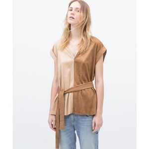 NWOT ZARA FAUX SUEDE COLOR BLOCK BELTED TUNIC TOP
